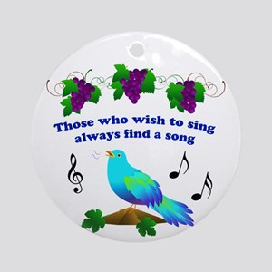 Singing Bluebird Ornament (Round)
