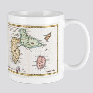 Vintage Map of Guadeloupe (1780) Mugs