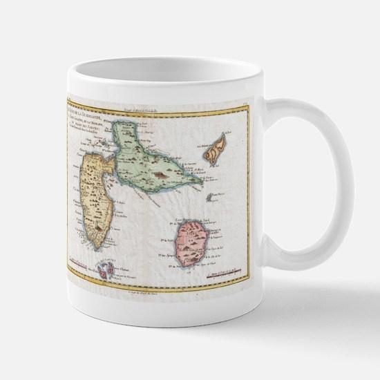 Vintage Map of Guadeloupe (1780) Mugs