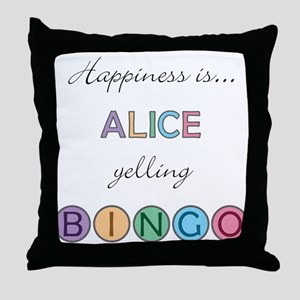 Alice BINGO Throw Pillow