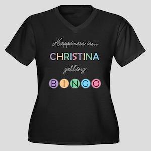 Christina BINGO Women's Plus Size V-Neck Dark T-Sh
