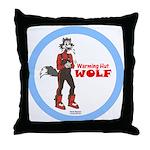 """""""Warming Hut Wolf"""" Throw Pillow"""