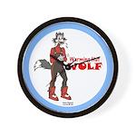 """""""Warming Hut Wolf"""" Wall Clock"""