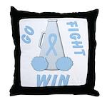 Light Blue WIN Ribbon Throw Pillow