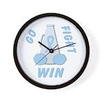 Light Blue WIN Ribbon Wall Clock