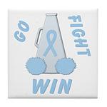 Light Blue WIN Ribbon Tile Coaster