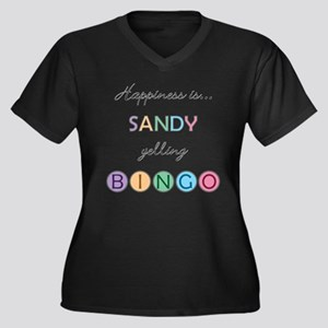 Sandy BINGO Women's Plus Size V-Neck Dark T-Shirt