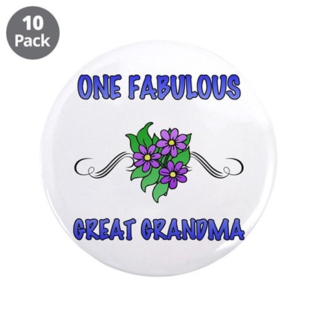 """Fabulous Floral Great Grandma 3.5"""" Button (10 pack"""