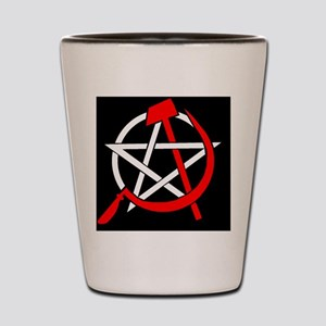 Hammer and Sickle Pentagram - Red Shot Glass