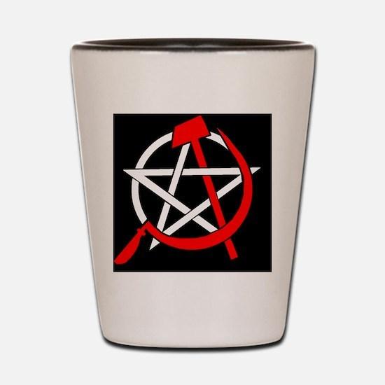 Hammer and Sickle Pentagram - Red Shot Glass