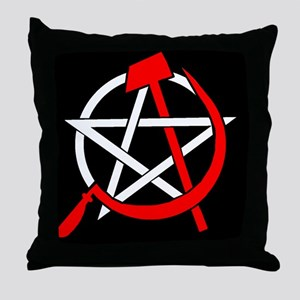 Hammer and Sickle Pentagram - Red Throw Pillow