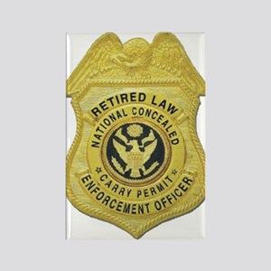 Retired Law Enforcement Rectangle Magnet