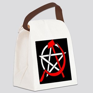 Hammer and Sickle Pentagram - Red Canvas Lunch Bag