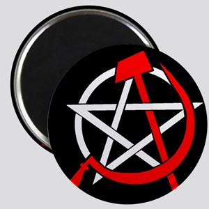 Hammer and Sickle Pentagram - Red Magnets