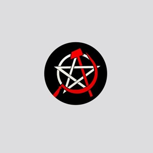 Hammer and Sickle Pentagram - Red Mini Button