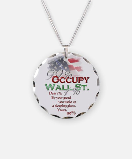 Occupy Wall St. Necklace Circle Charm