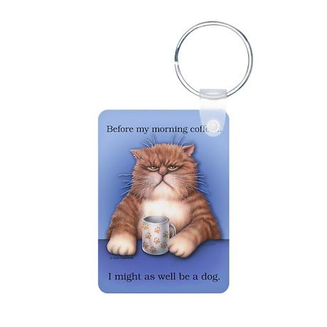 Coffee Cat Aluminum Photo Keychain