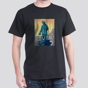 Statue of Liberty Freedom (Front) Black T-Shirt