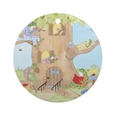 Frogs in Tree House Ornament (Round)