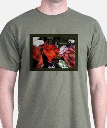 Red Eared Slider Turtle and Flowers T-Shirt