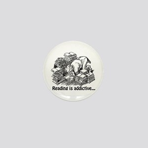 Reading is Addictive Mini Button