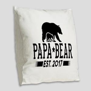 Papa Bear Est. 2017 Burlap Throw Pillow