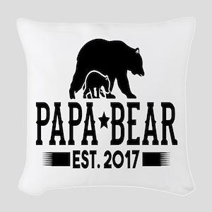 Papa Bear Est. 2017 Woven Throw Pillow