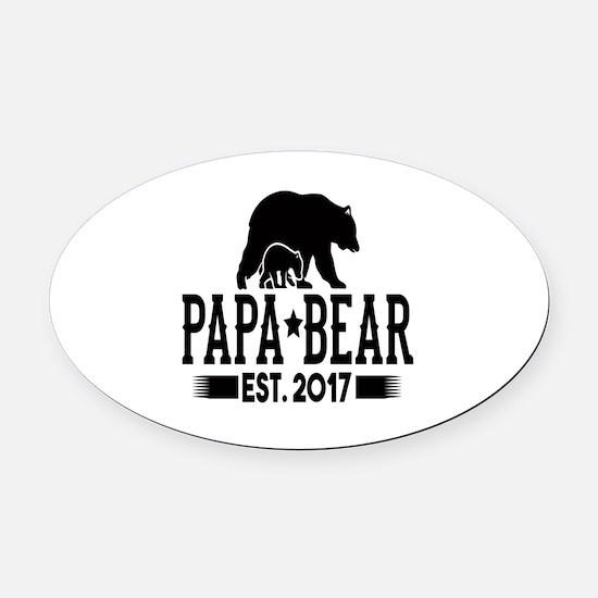 Papa Bear Est. 2017 Oval Car Magnet