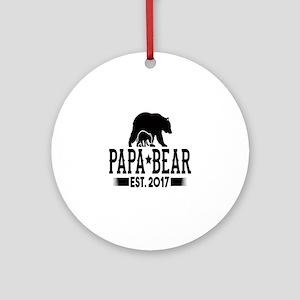 Papa Bear Est. 2017 Round Ornament