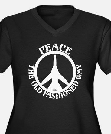 FB-111 Peace Plane Women's Plus Size V-Neck Dark T