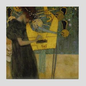 Gustav Klimt Music Art Deco Tile Coaster