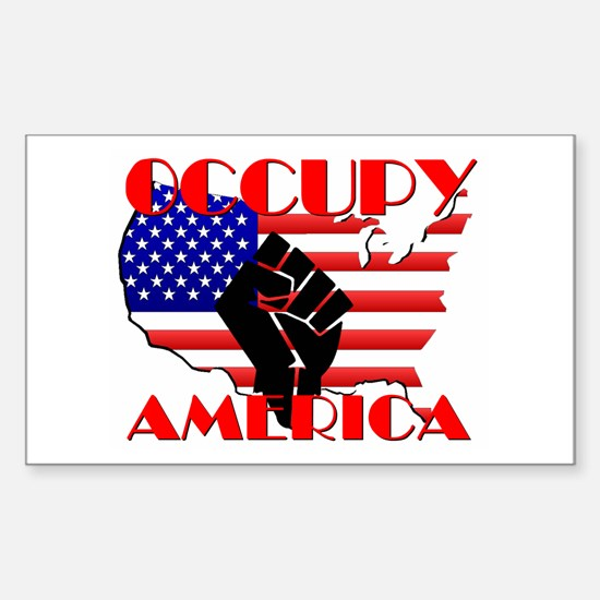 Occupy America USA Flag Sticker (Rectangle)