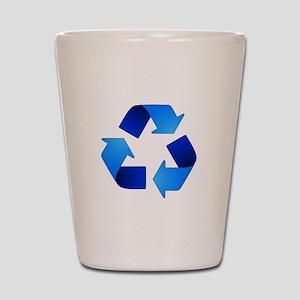 Blue Recycling Symbol Shot Glass