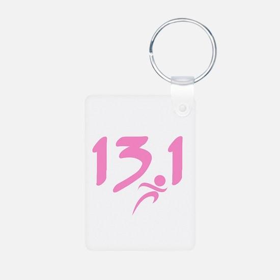 Pink 13.1 half-marathon Keychains