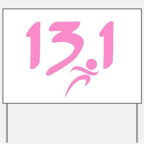 Pink 13.1 half-marathon Yard Sign