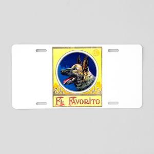 German Shepherd Cigar Label Aluminum License Plate