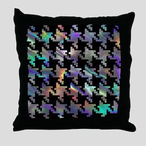 hologram houndstooth Throw Pillow