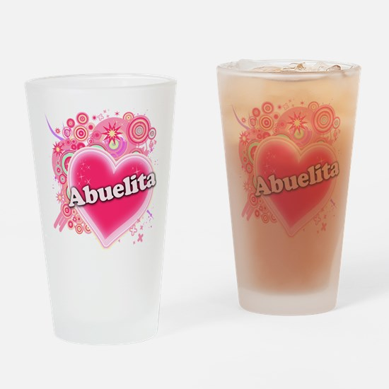 Abuelita Heart Art Drinking Glass