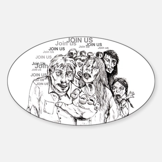 Cute Zombie Sticker (Oval)