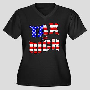 Tax the Rich Women's Plus Size V-Neck Dark T-Shirt