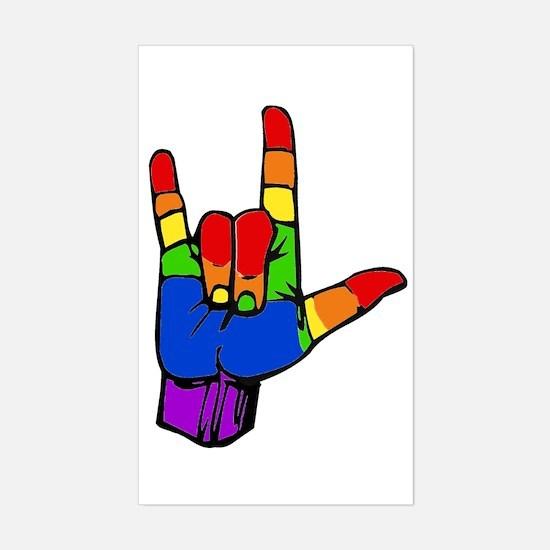 Rainbow I Love You Sticker (Rectangle)