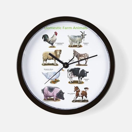 Domestic Farm Animals Wall Clock