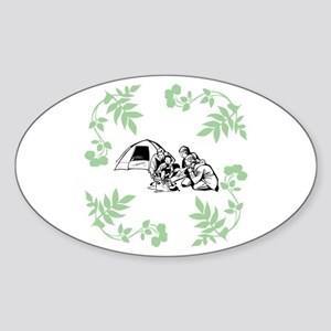 Camping Outdoors Sticker (Oval)