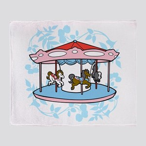 Carousel Pink and Blue Throw Blanket