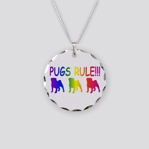 Pug Necklace Circle Charm