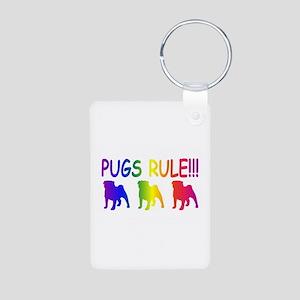 Pug Aluminum Photo Keychain