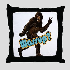 Bigfoot Sasquatch Yetti Wassup Throw Pillow