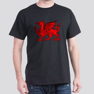 Y Ddraig Goch in Black and Red T-Shirt