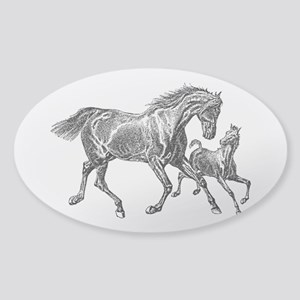 Beautiful Mare and Foal Sticker (Oval)