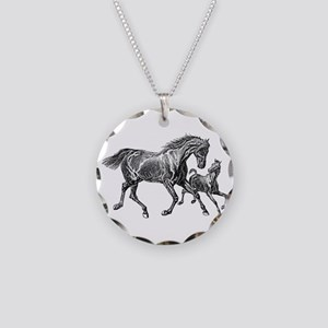 Beautiful Mare and Foal Necklace Circle Charm